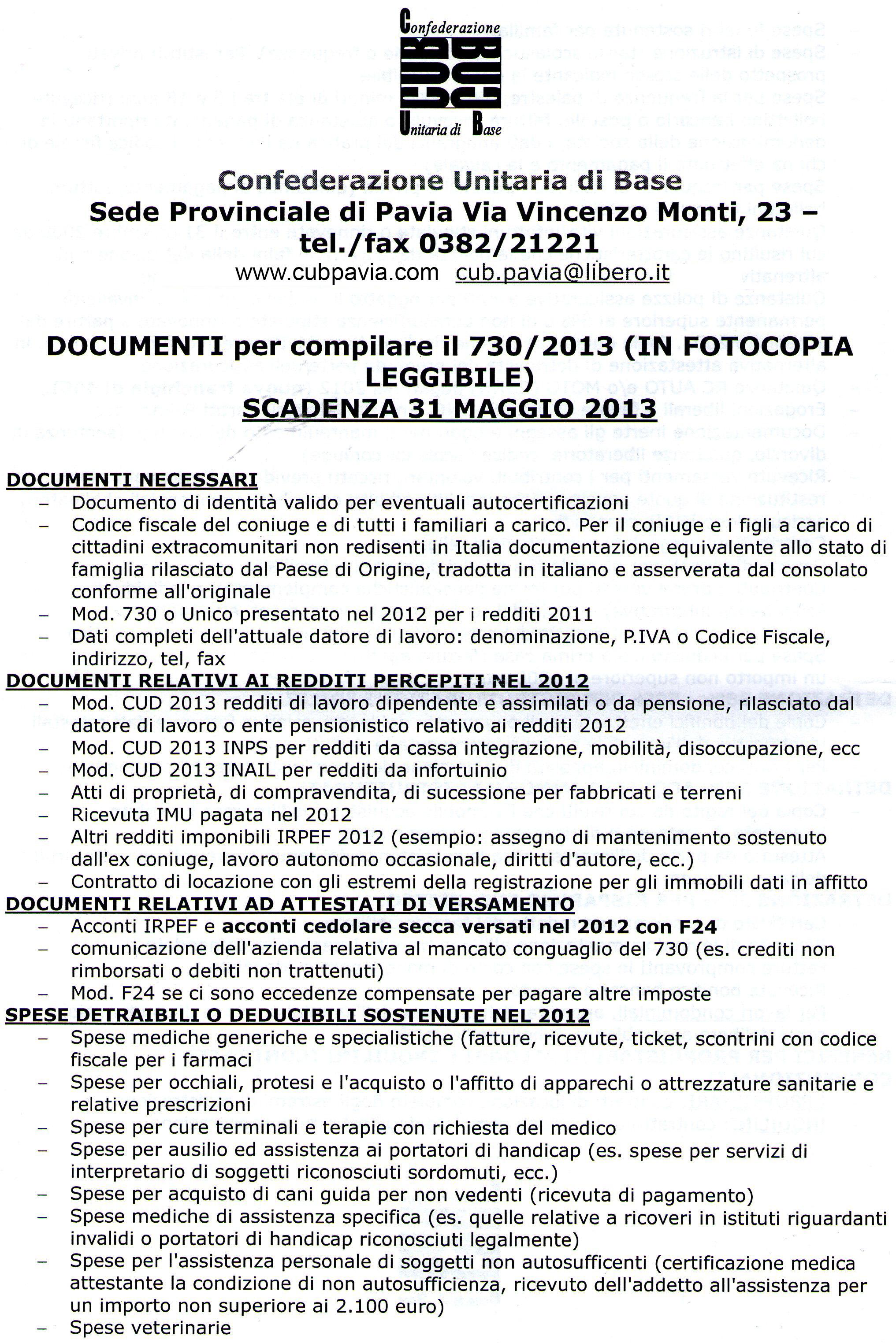 Quali documenti sono necessari per la dichiarazione 730 for Scadenza cud 2017